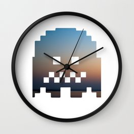 Pacman robot with clouds Wall Clock