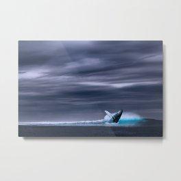 Whale in ocean night Metal Print