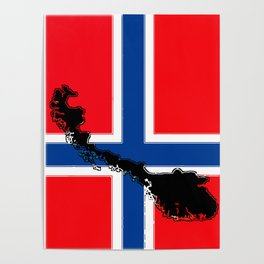 Norwegian Flag with Map of Norway Poster