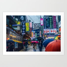 Raining in Gangnam Art Print