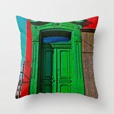 The Old Green Door  Throw Pillow