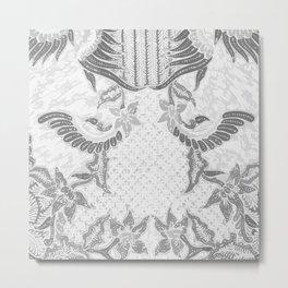 White and grey Batik Metal Print