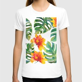 Monstera And Hibiscus T-shirt