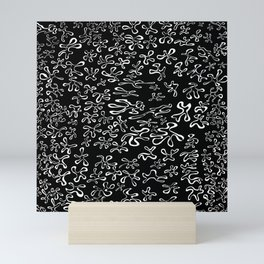blobbies white on black Mini Art Print