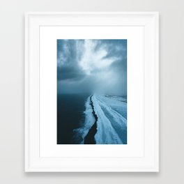 Moody Black Sand Beach in Iceland - Landscape Photography Framed Art Print