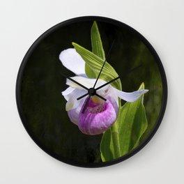 Showy Lady Slipper Orchid Wall Clock