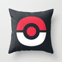 pokeball Throw Pillows featuring Pokeball by brane