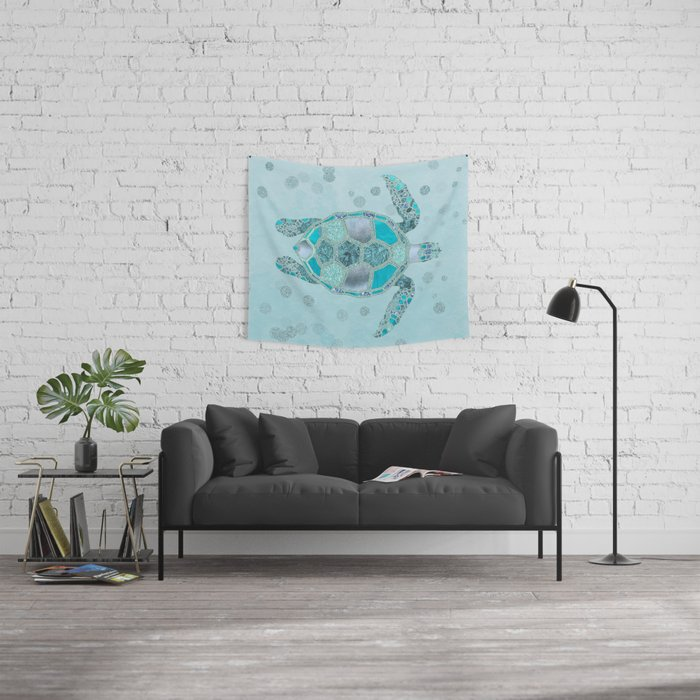 Glamour Aqua Turquoise Turtle Underwater Scenery Wall Tapestry