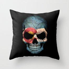 Dark Skull with Flag of Colorado Throw Pillow