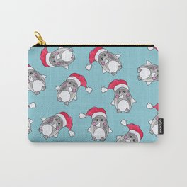Cute Christmas Winter Penguin Watercolor Santa Hat Carry-All Pouch