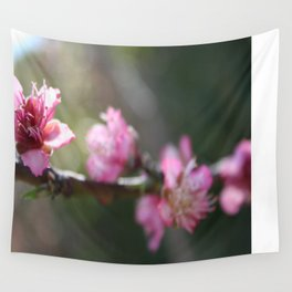 A Bough Of Blurred Peach Blossom Wall Tapestry