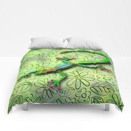 Gecko Lizard Rainbow Colors Comforters