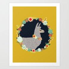 lovely llama Art Print