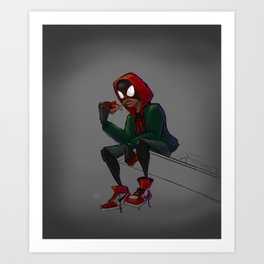 Miles Morales Loves Pizza Breaks in the Spider-Verse Art Print