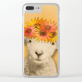 Daisies Sheep Girl Portrait, Mustard Yellow Texturized Backgroud Clear iPhone Case