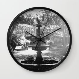 Charleston Black and White Fountain Wall Clock