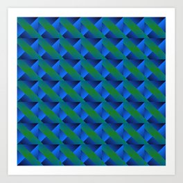 Braid of bright green squares and triangles in blue. Art Print