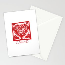 Cariad Darling sweetheart lino print red Stationery Cards