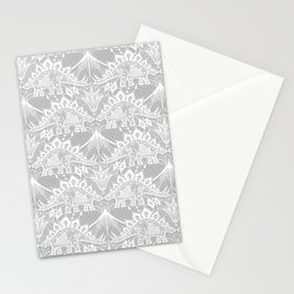 Stegosaurus Lace - White / Silver Stationery Cards