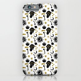 Sun and Moon and Divine Energy   Esoteric Pattern   Black and Gold iPhone Case