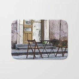 Table and Chairs - Catania - Sicily Bath Mat