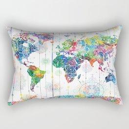 world map mandala white Rectangular Pillow