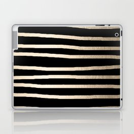 Simply Drawn Stripes White Gold Sands on Midnight Black Laptop & iPad Skin