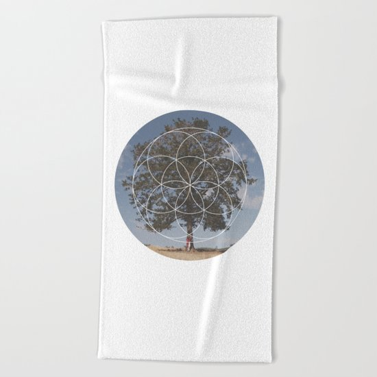 Free Tree Hugs - Geometric Photography Beach Towel
