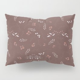 Pastel brown pink gray blue hand painted autumn floral Pillow Sham
