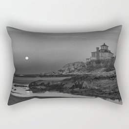 "Full ""Pink"" Moon at Good Harbor Beach BW Rectangular Pillow"