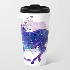 Running Horse Watercolor Silhouette Metal Travel Mug