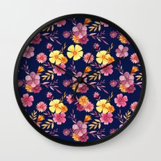 Midnight // Pink and Yellow Floral Pattern Wall Clock