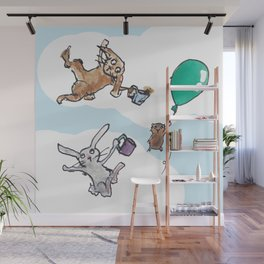 Flying Pig Tea Party Wall Mural