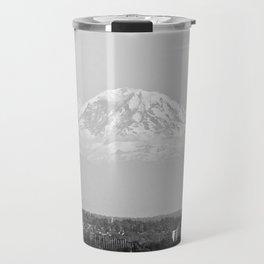 Hovering Mt Rainier in Mono Travel Mug