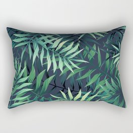 Elegant Tropical Green Leaves Rectangular Pillow