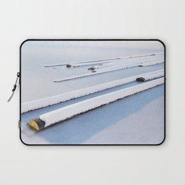 Snow frozen lake, snow covered logs, frozen, Lake, landscape Laptop Sleeve