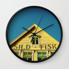 Sunny Yellow House Wall Clock