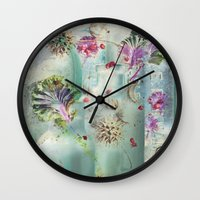 lydia martin Wall Clocks featuring Lydia by Maggie Green