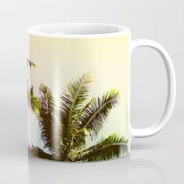 Yellow Blue Tropical Sky with Coco Palm Trees Coffee Mug