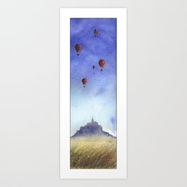 Mt St Michel and red baloons Art Print