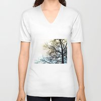 ombre V-neck T-shirts featuring Ombre chinoise by Françoise Reina