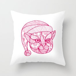 Cat Wearing Santa Hat Mandala Throw Pillow