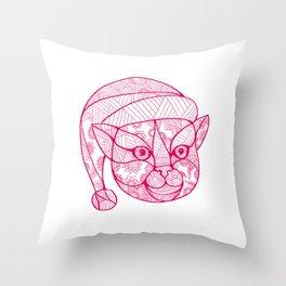 Cat Wearing Santa Hat Mandala Throw Pillow