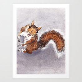 Quizzical squirrel Art Print