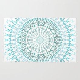 Turquoise White Mandala Rug