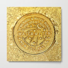 New Orleans Water Meter Louisiana Art NOLA French Quarter Coaster Poster Yellow Gold Crescent City Metal Print