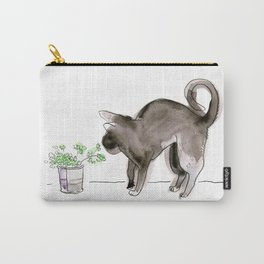 Black Kitten Sniffing Plants: Water Color Illustration Carry-All Pouch