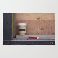 cigarettes Area & Throw Rugs featuring Cigarettes and coffee by RMK Creative