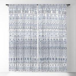 Indigo Doodle strips Sheer Curtain