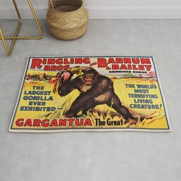 1938 Ringling Brothers and Barnum & Bailey Big Top 'GARGANTUA the Great' Circus Poster Rug